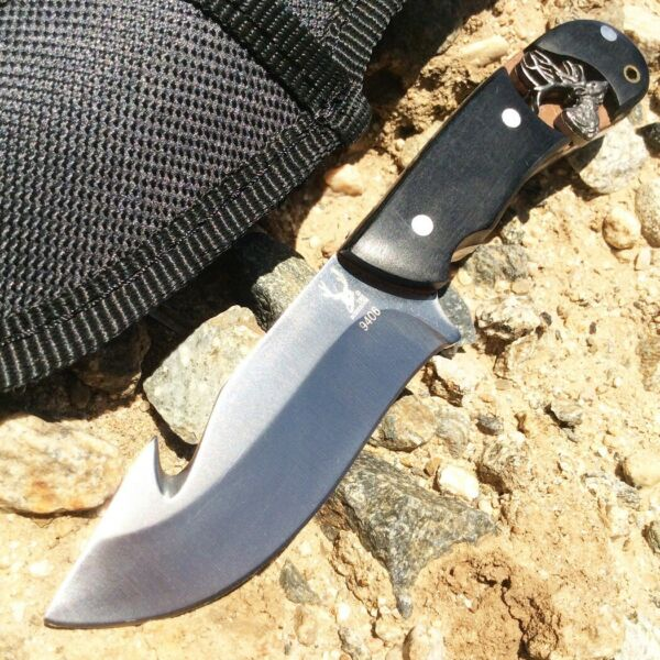 6.25quot; The Bone Edge Stainless Steel Hunting Knife with Fish Hook and Nylon Sheat