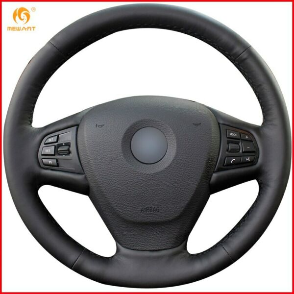 Black Genuine Leather Car Steering Wheel Cover for BMW X3 2011 2017 F15 X5 A93