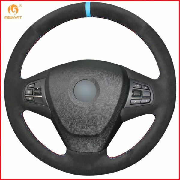 Black Suede Car Steering Wheel Cover for BMW F25 X3 2011 2017 F15 X5 2014 A94