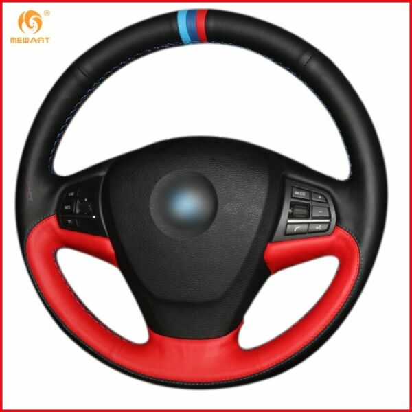 Black Red Leather Car Steering Wheel Cover for BMW F25 X3 2011 2017 F15 X5 A95