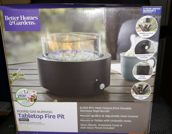 NEW Better Homes & Gardens Round Gas Burning Tabletop Fire Pit Outdoors & Patio
