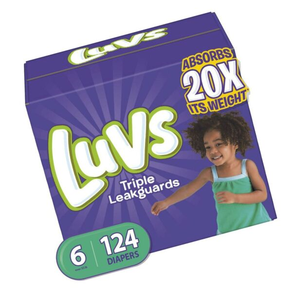 Luvs Ultra Leakguards Disposable Baby Diapers Size 6 124 Count ONE MONTH SUPPLY $36.94