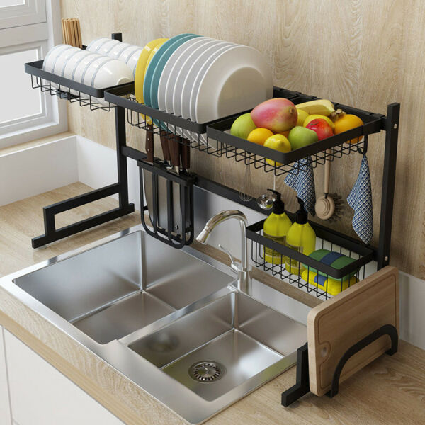 Over The Sink Dish Drying Rack Shelf 304 Stainless Steel Storage Cutlery Holder