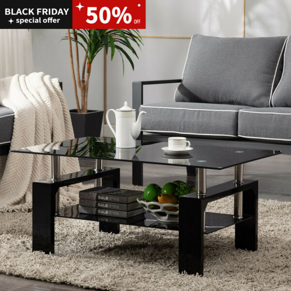 Black Modern Side Highlight Glass Top Coffee Table w Shelf Living Room Rectangle