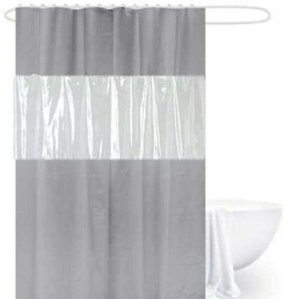 ORSHIS Clear and Gray Shower Curtain Liner 180 x 180 cm