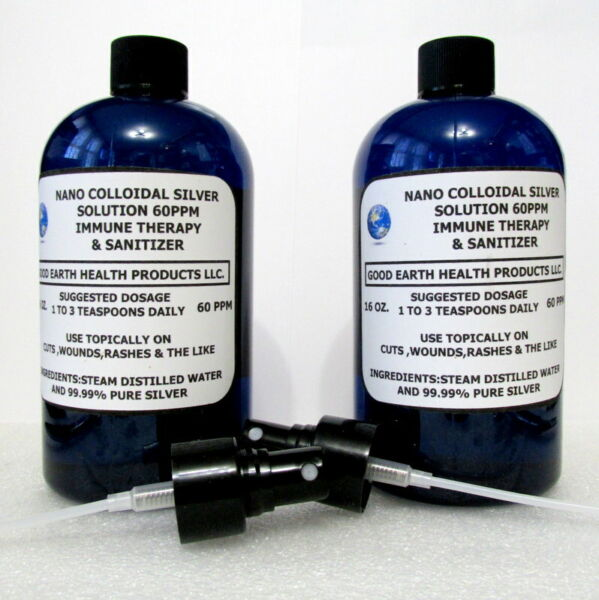 NANO COLLOIDAL SILVER SOLUTION 60PPM 2 16OZ BOTTLES amp; 2 MISTER ADAPTERS $29.50
