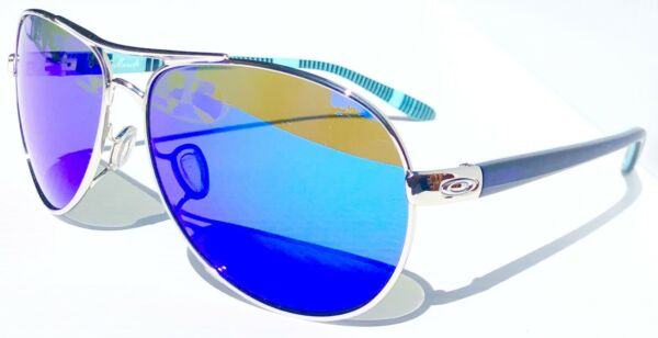 NEW Oakley FEEDBACK Aviator Chrome POLARIZED Galaxy Blue Womens Sunglass 4079 $178.88