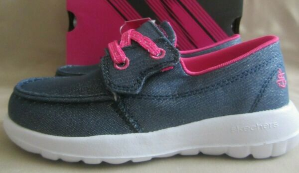 Skechers Shore Brights Casual Shoes Girls Toddler 10 Denim Hot Pink Sparkles NWT $24.99