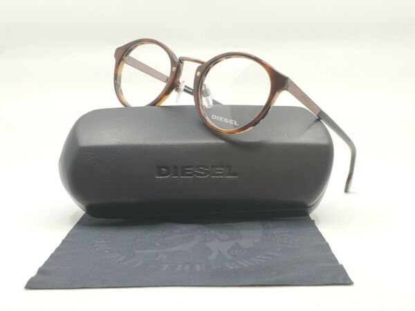 DIESEL DL5216 EYEGLASSES BRAND NEW AUTHENTIC PlasticMetal Brown Unisex Round