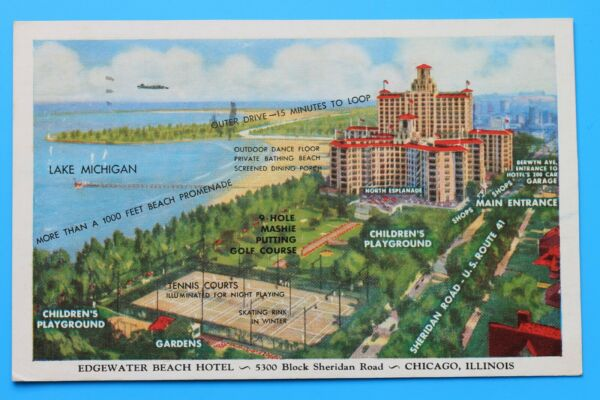 Old postcard EDGEWATER BEACH HOTEL 5300 BLOCK SHERIDAN ROAD CHICAGO ILLINOIS