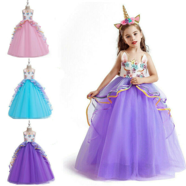 Unicorn Dress for Girl Flower Kids Birthday Party Wedding Long Gown Size 5 14