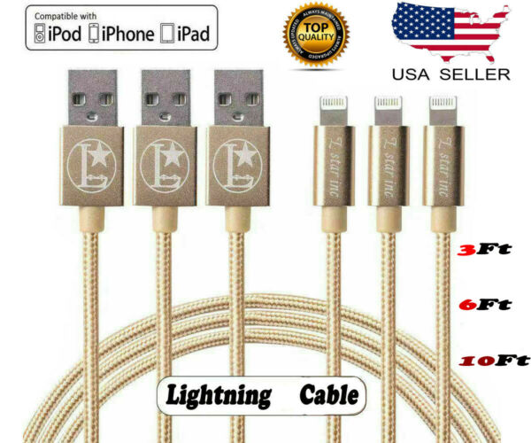 For iPhone 6 7 8 iPhone XS XR 5 Lightning Charger Heavy Duty Charging Cable Cord