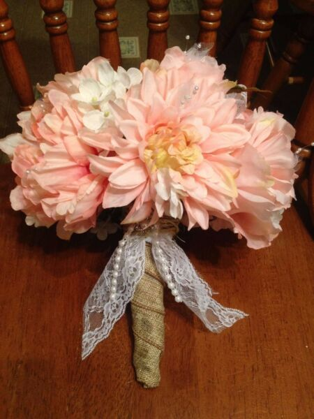 Bridal Wedding Bouquet Pink Peony Dahlia Roses With Burlap Wrapped Stem