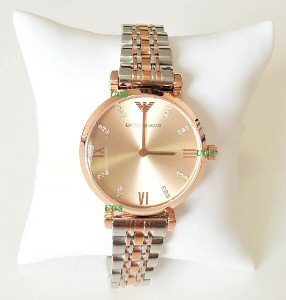 Emporio Armani Womens Watch Gold Dial Rose Gold Band Pearl Dial AR1840 Genuine