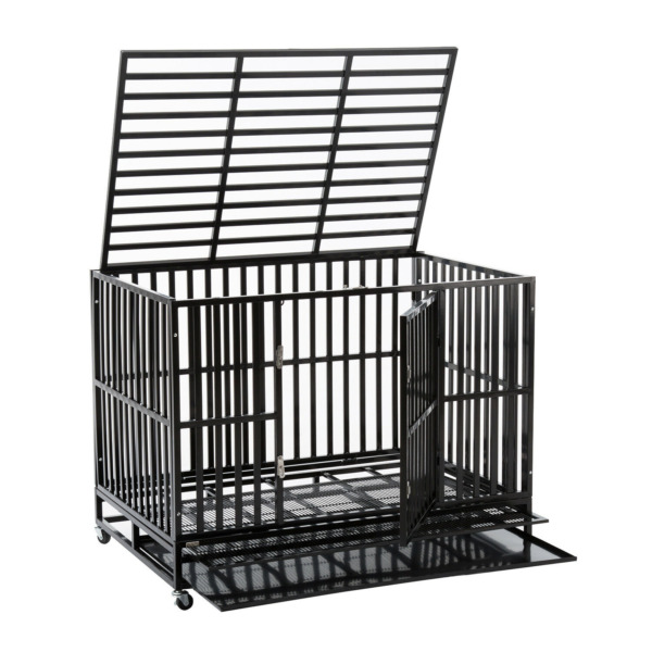 42quot; Dog Crate Outdoor Heavy Duty Dog Cage Large Metal Tube Pet Kennel w Tray $209.99