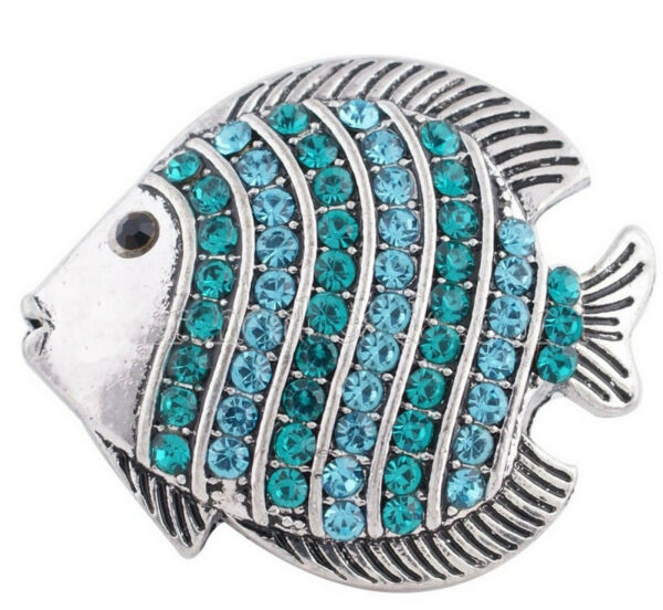 Silver Teal Blue Ocean Sea Fish 20mm Snap Charm Button For Ginger Snaps Jewelry $6.26