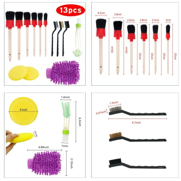 13pcs Car Detailing Brush Kit Boar Hair Vehicle - Auto Inner For Wheel Clean Set