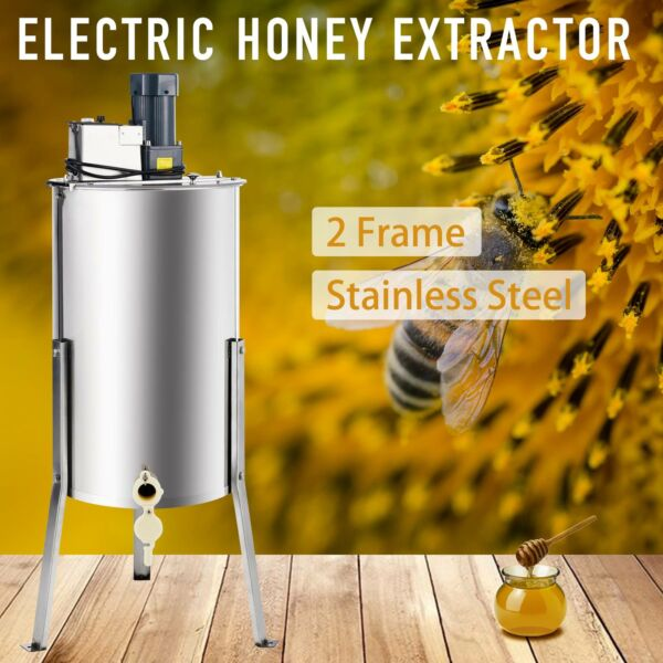 2-Frame Electric Honey Extractor Centrifuge Equipment Drum w Adjustable Stands