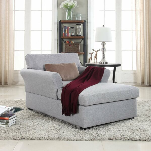 Large Classic Linen Fabric Living Room Chaise Lounge (Blue)