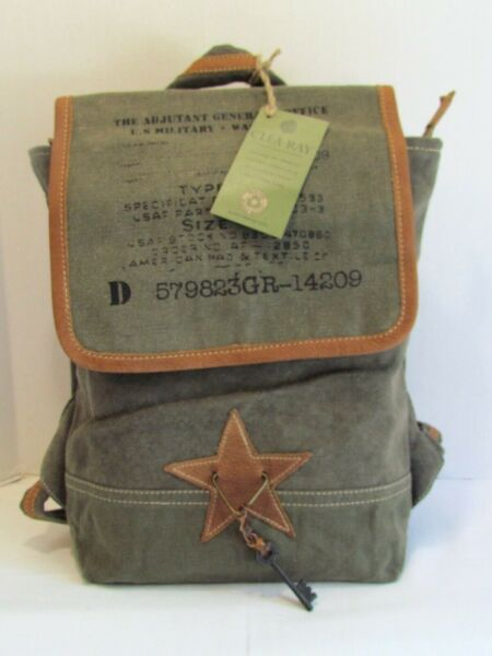 Adjutant General Gray Canvas Knapsack Backpack 13quot; x 9quot; Recycled Military Tents