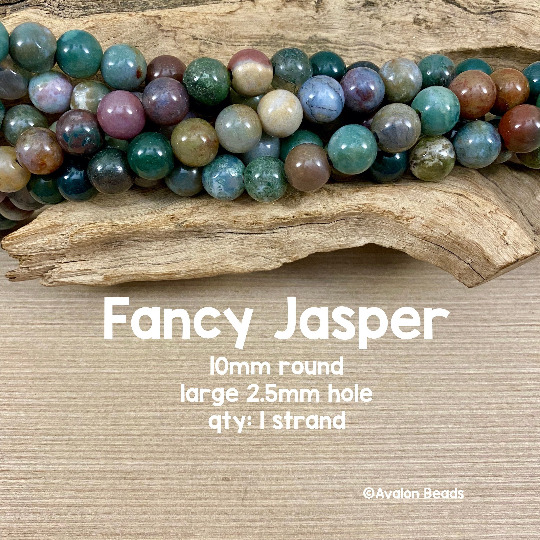 Fancy Jasper Large Hole Round Gemstone Beads 10mm $6.95