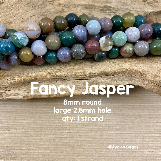 Fancy Jasper Large Hole Round Beads 8mm $6.50