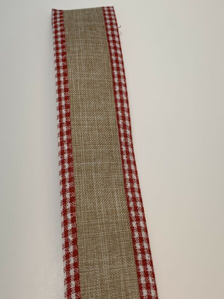 "10 Yds 1 1 2"" Beige Faux Burlap Wired Ribbon With Red White Gingham Edging"