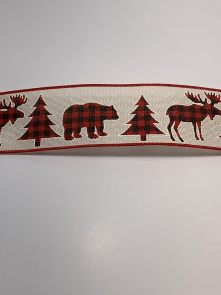 "10 Yds 2 1 2"" Christmas Faux Burlap Ribbon Red blk Check Moose Trees Bear"