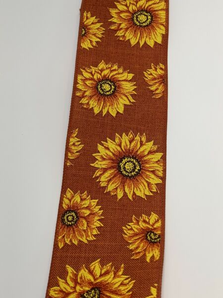 "10 Yds 2 1 2"" Rust yellow Sunflower Faux Burlap Wired Ribbon"