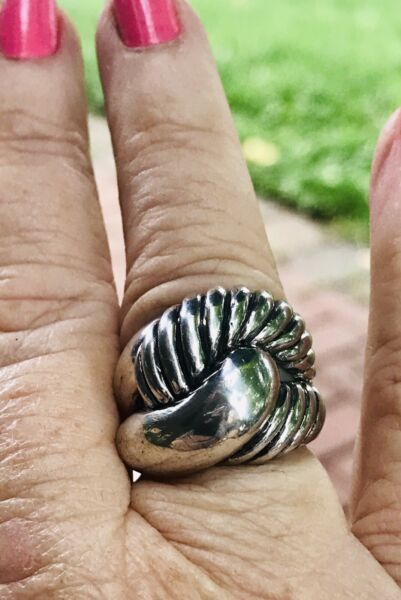 Vintage Sterling Silver Wide Ring 925 Sz 6