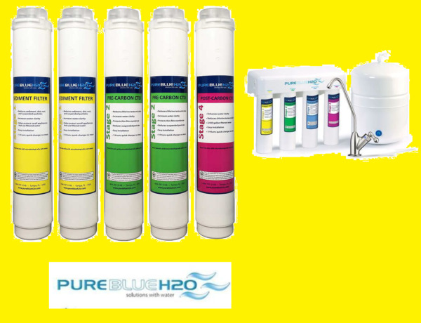 Pure Blue H2O Filter 5PC Reverse Osmosis Filter System Replacement Filters $174.99