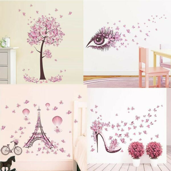 Removable Butterfly Flower Wall Stickers Kids Girls Bedroom Art Mural Decors NEW
