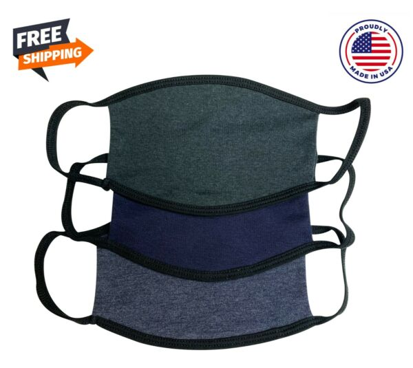 Set Of 3 Adult Fabric Face Mask Made in USA Washable  $15.57