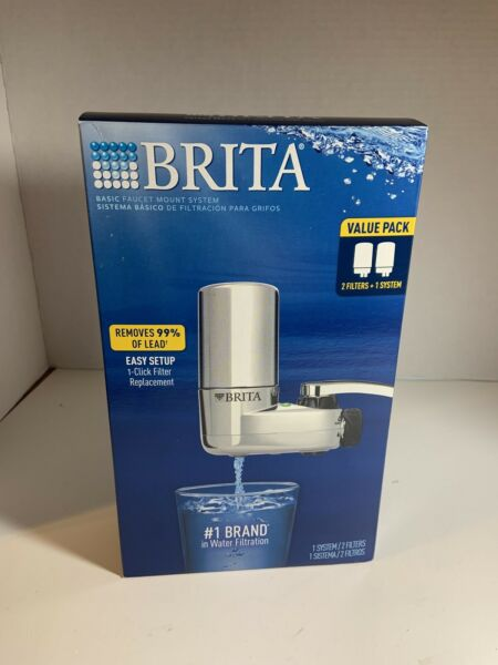 BRITA On Tap FAUCET MOUNT WATER FILTRATION SYSTEM CHROME 2 FILTERS FAST SHIP