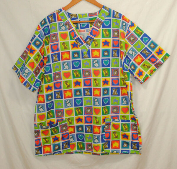 Scrub Co Size 3XL Scrub Top Dogs Stars Hearts Nurse Doctor Veterinarian Pockets $19.99