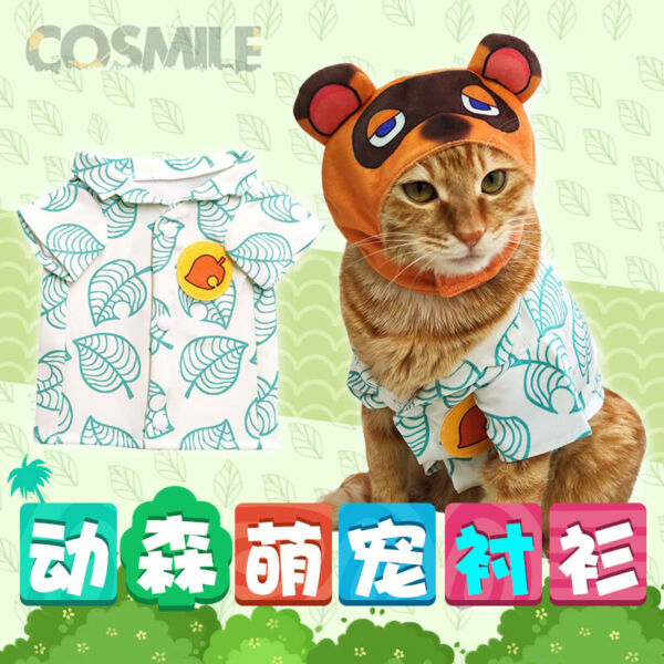 Animal Crossing Tom Nook Timmy Tommy Isabella Cat Clothes Shirt Hat Pet Costume $22.98