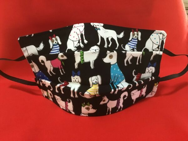 REVISED Price Handmade Cotton Adult Fancy Dog's Face Mask Cover $6.00