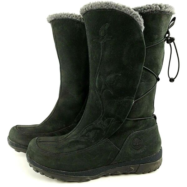 Timberland Womens Boots Crystal Mountain 22617 Sz 7.5 M Black Leather Waterproof $39.99