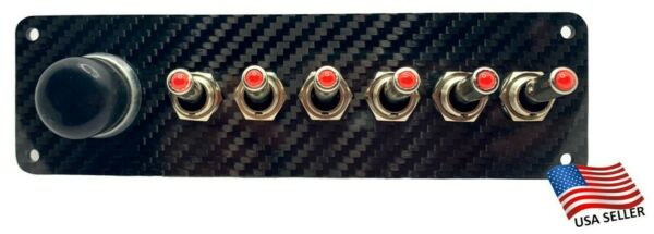 12V Switch Panel Real Carbon Fiber Plate Push Start 6 RED LED Toggle Switches