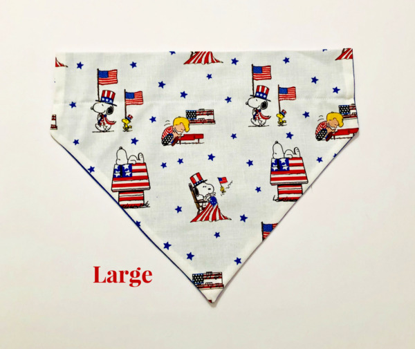 Snoopy Peanuts American Flag Ross Over Collar Slide On Dog Cat Bandana USA Made $5.50