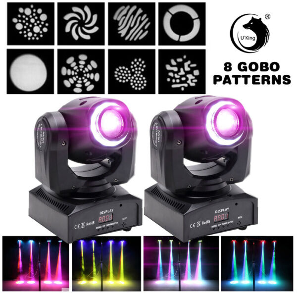 2PCS 70W LED Gobo Stage Light RGBW 8 Patterns Moving Head DMX Disco Party Light
