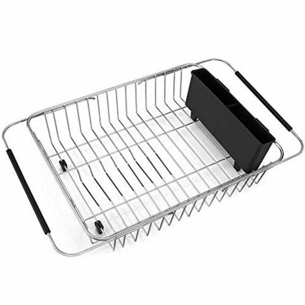 Dish Drying Rack Expandable Over the Sink Drainer Stainless Steel Rust Proof
