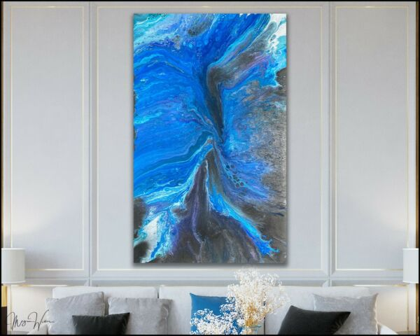 Canvas ABSTRACT Painting Modern Wall Art Framed Large Signed USA Artist X Willis
