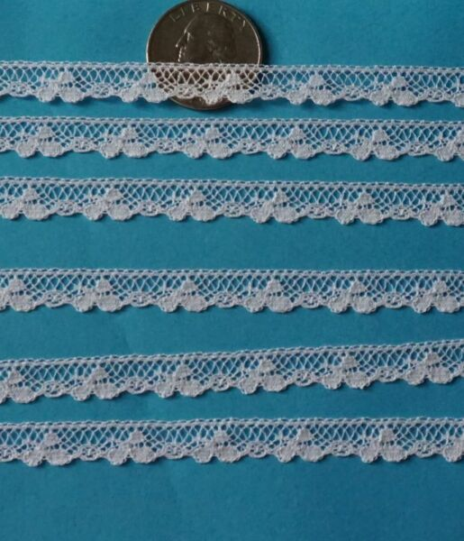 ~  DOLL HEIRLOOM SEWING  M PULLEN SMOCKING TINY CLOVERS FRENCH COTTON LACE BTY ~