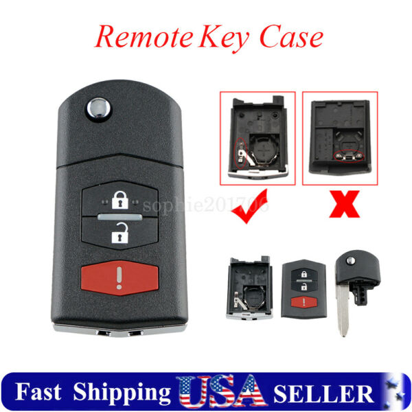 Flip Key Remote Fob Shell Case Blade Kit For Mazda 3 5 6 RX 8 CX 7 CX 9 3Buttons
