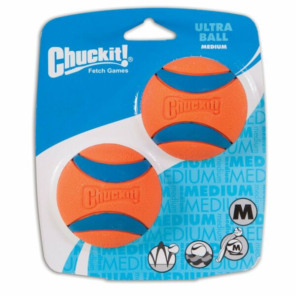 Chuckit! Medium Ultra Ball Durable Rubber Fetch Floating Dog Toy  2-Pack NEW $14.96