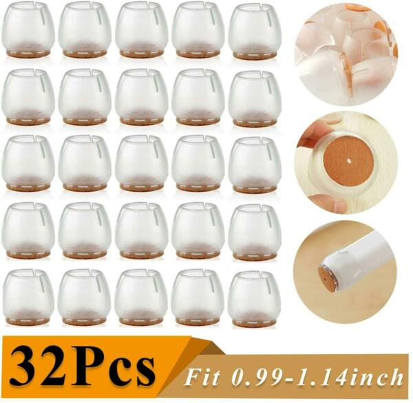 32 Pack Chair Leg Caps Silicone Floor Protector Round Table Feet Covers