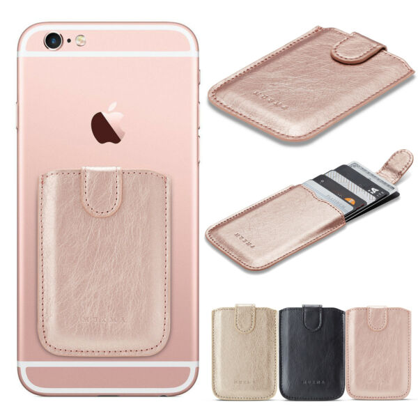 Universal Cell Phone Leather Credit Card Wallet Holder Stick-On Adhesive Elastic $5.69