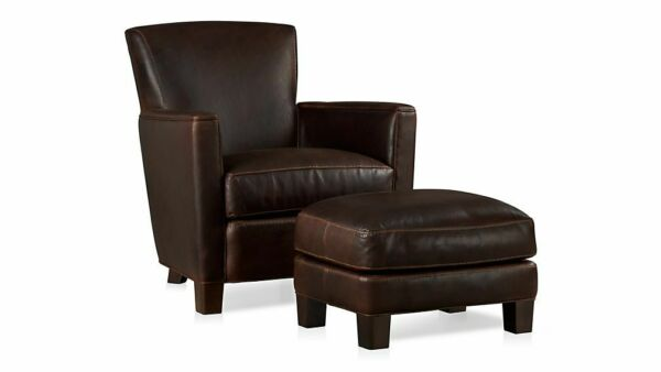 Crate & Barrel Briarwood Leather Chair + Ottoman Potomac Oak Black Walnut Legs