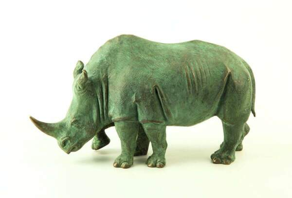 Rhinoceros Author's Sculpture Bronze Covered Green Patina Free Shipping